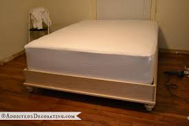 Platform Bed Frame Diy by Diy Stained Wood Raised Platform Bed Frame U2013 Part 1