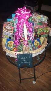 sip and scratch lottery basket with mini liquor bottles great