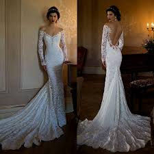 mermaid wedding dress with sleeves backless naf dresses