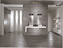 varnished gray wood floor tile with gray ceramics wall tile and