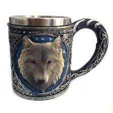 wholesale new double wall stainless steel 3d wolf head mugs coffee