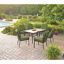Patio Furniture From Walmart by Mainstays Crossman 7 Piece Patio Dining Set Green Box 1 Of 2