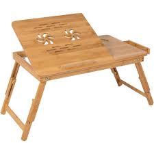 100 bamboo adjustable laptop table computer desk tilting top w