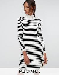 vero moda tall stripe curved hem jumper dress white u0026 black women