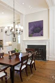 Beautiful Dining Room by Beautiful Diningroom With Fireplace Looking Out To Kitchen Stock