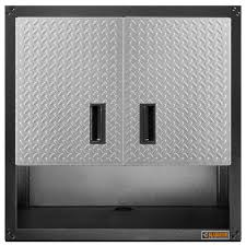 gladiator premier series pre assembled 30 in h x 30 in w x 12 in gladiator premier series pre assembled 30 in h x 30 in w x 12 in d steel 2 door garage wall cabinet in silver tread gawg302drg the home depot