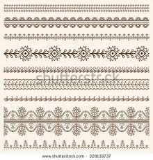 vector set floral ornamental borders indian stock vector 329139737