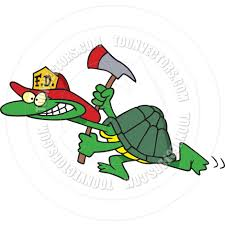 cartoon turtle firefighter ron leishman toon vectors eps 10698