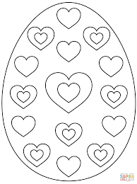 easter egg with hearts coloring page free printable coloring pages