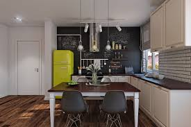 design yellow fridge polished wood floors scandinavian kitchen