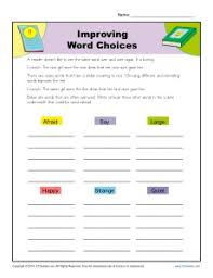 improving word choices writing worksheet practice activity