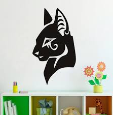 online get cheap egyptian wall murals removeable aliexpress com eco friendly egyptian wall decal removable art vinyl home decorative animal cat head wall sticker kids room mural m 123