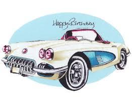 corvette birthday handmade fabric 50 s birthday card