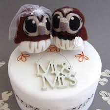 owl wedding cake topper and groom owl wedding cake topper by feltmeupdesigns