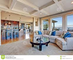 luxury open floor plans luxury house with open floor plan coffered ceiling carpet and