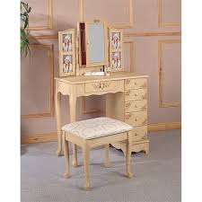 coaster hand painted wood makeup vanity table set with mirror in