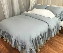 duck egg blue duvet cover w mermaid long ruffle handcrafted by