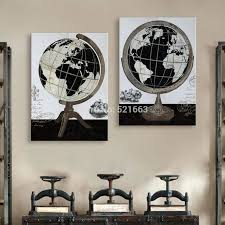 Home Decor Metal Wall Art Wall Ideas Art Print Oil Painting Globe Decoration Painting Home
