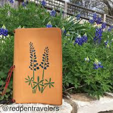 Texas travelers notebook images Bluebonnet texas state flower leather traveler 39 s notebook red JPG