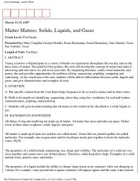 matter matters solids liquids and gases 1st 3rd grade lesson
