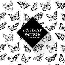 black and white butterfly pattern vector