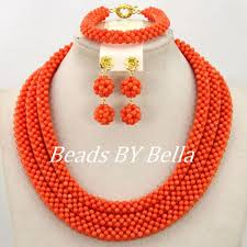aliexpress bead necklace images Handmade orange coral nigerian wedding beads necklace set costume jpg