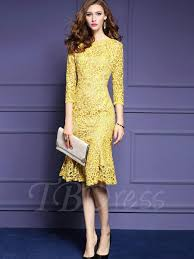 yellow fishtail women u0027s lace dress tbdress com