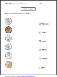 Ist Grade Math Worksheets Free 1st Grade Worksheets Match The Coins And Its Values