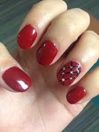 red burgundy plaid silver crystal nails gel shellac design art diy