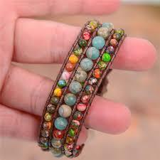 leather wrap bracelet with stones images Boho three layer jasper and emperor stone leather wrap bracelet jpg