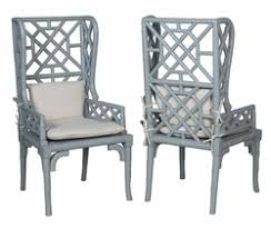 Wingback Wicker Chair Hand Painted Hand Distressed Wicker Rattan Bamboo Chairs