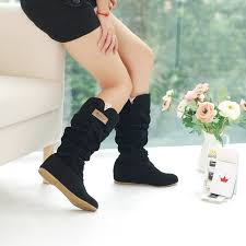 womens boots for flat comfort flat heel frosted mid calf s boots shoes
