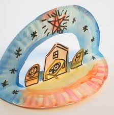 easy pop up paper plate nativity pink stripey socks