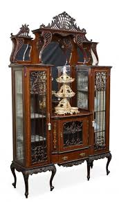 3 Door Display Cabinet 19th Century Nouveau Mahogany 3 Door Display Cabinet With