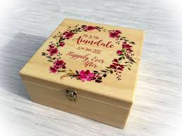 wedding box gorgeous personalised floral wreath wooden wedding box gift