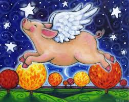 fall pig colorful whimsical autumn fall flying pig print by