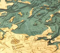 Lake Michigan Depth Map by Custom Wood Charts Of Boston Harbor From Carved Lake Art Nautical