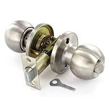Satin Stainless Steel Door Knob Set Privacy Bathroom Amazon - Bathroom door knob with lock