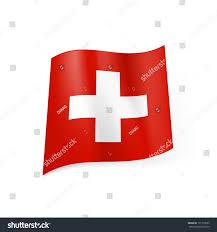 Flag Red With White Cross National Flag Switzerland White Cross Centre Stock Vector