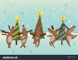 dancing reindeer front christmas trees illustration stock