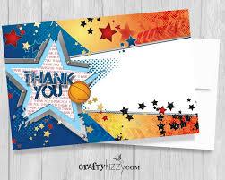 basketball thank you card printable all star thank you card