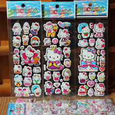6 shhet diy hello kitty sticker for kids rooms home decor diary