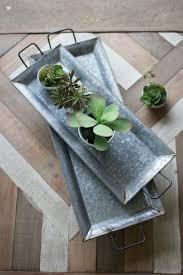 set of two zinc trays with brass detail urban farmhouse designs