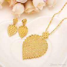 gold sets images 2018 gold necklace earring set women party gift big leaf jewelry
