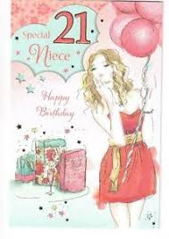 special niece 21st birthday card in dress with balloons