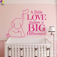 compare prices on baby room quotes online shopping buy low price cartoon elephant heart wall sticker baby nursery a little love makes a big difference quote wall