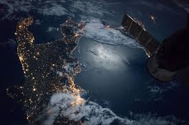 space station flight over southern tip italy nasa