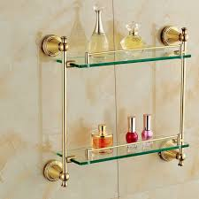 Glass Shelves Bathroom Gold Finish Bathroom Glass Shelf Wall Mounted Tier Cosmetic