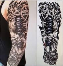 full arm temporary robot tattoo sleeve stickers body art 3d tattoo