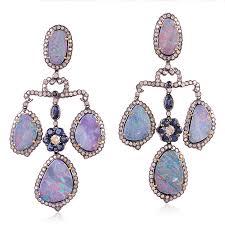 Designer Chandelier Earrings Gold 29 25 Ct Opal Sapphire Designer Chandelier Earrings